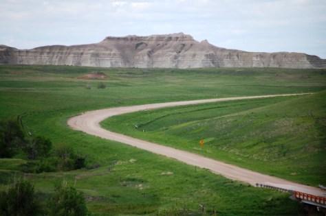 SD 63 going though prairie grasslands and badlands