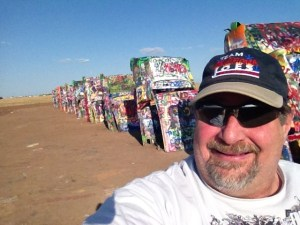 Sumoflam at Cadillac Ranch in Amarillo, Texas in August 2013