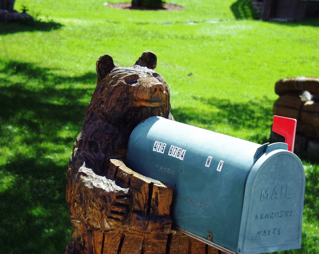 chainsaw carved bear mailbox