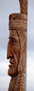 Gigantic Peter Toth carved Indian in Idaho Falls, Idaho. He has more than 55 of these around the US, all different. I have only seen two.
