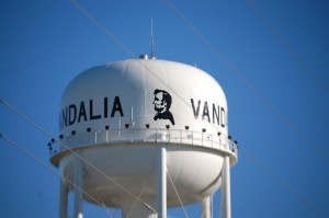 Vandalia Water Tower with Lincoln on it