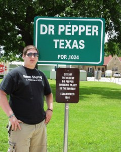 My son Solomon in Dublin, Texas home of the Dr. Pepper Plant in June 2007