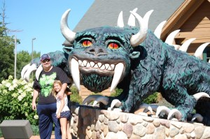 "Autumn and ""Grampz"" with the Hodag of Rhinelander, WI"