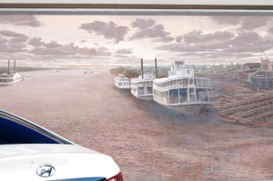 One of the many floodwall murals of Jeffersonville, Indiana
