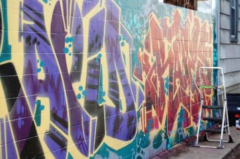 Colorful Graffiti wall in Northside of Cincinnati