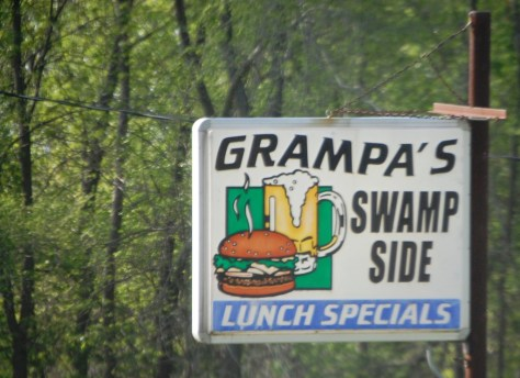 Grampa's Swamp Side Cafe...sounds yummy.  Seen in Endeavor, WI