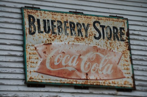 Sign on an old antique store in Blueberry, WI