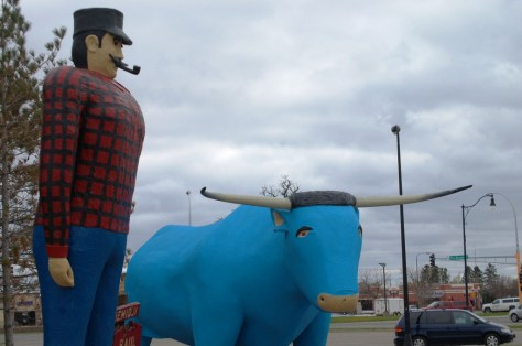 The famed Paul Bunyan and Babe statues made in 1937 in Bemidji, MN