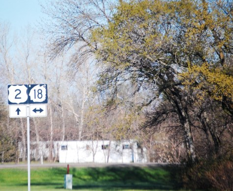 US Route 2 sign west of Grand Forks, ND