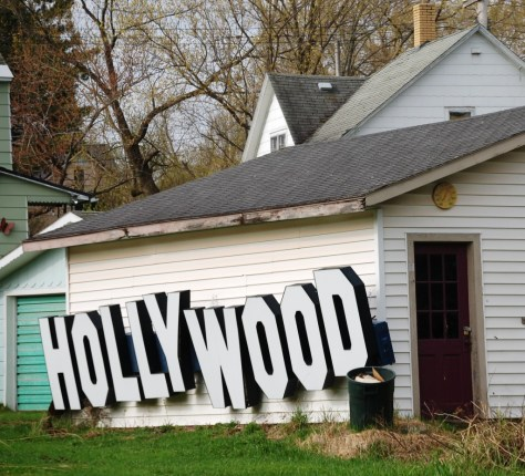 A house in Ironwood has an old Hollywood video sign attached to an out building... Hollywood in Michigan!!