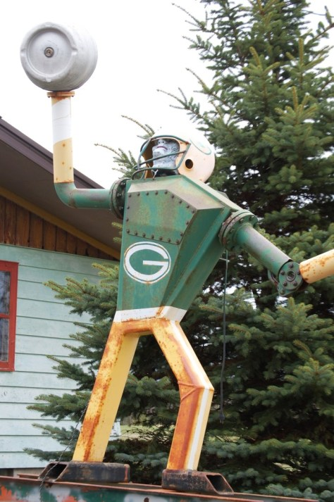 Robotic scrap metal quarterback.  The guy in the bar said you can plug it in and it actually moves!