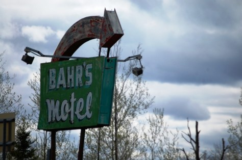 Bahr's Motel sign one on US Route 2 in Deer River, MN