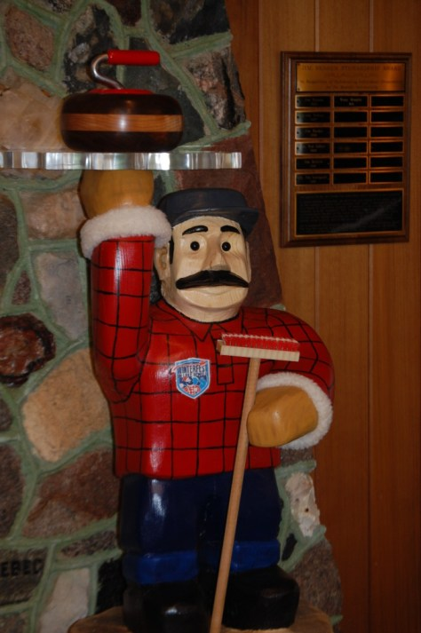 Paul Bunyan, the Curler, inside of the Bemidji Visitor's Center