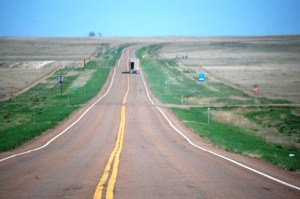 US Highway 2 in eastern Montana outside of Glasgow, Montana