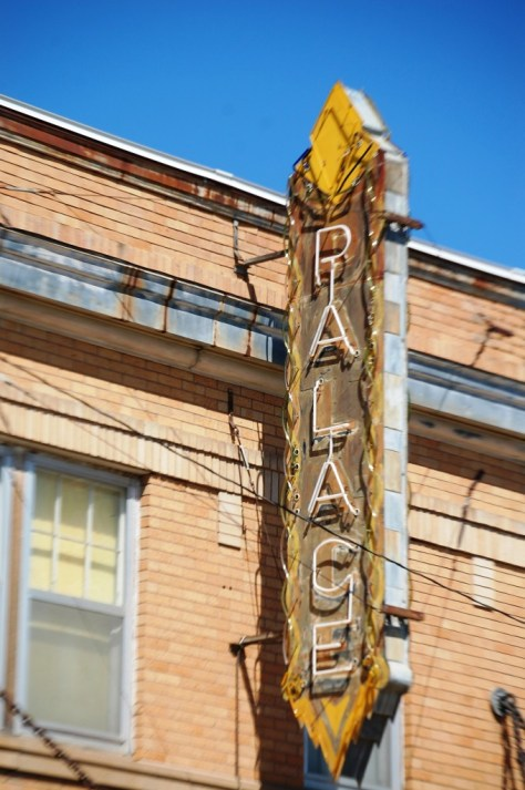 Old neon sign for the Palace Theater in Malta, Montana