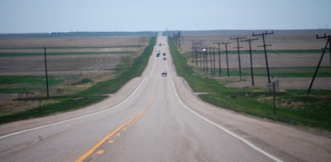 US Route 2 - The Montana Hi-Line - long and straight out of Inverness heading toward Joplin, MT