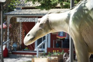 An outdoor dinosaur at the Old Trail Museum in Choteau, Montana