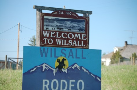 Welcome to Wilsall, Montana (with the Welcome Bird on top of the sign!)