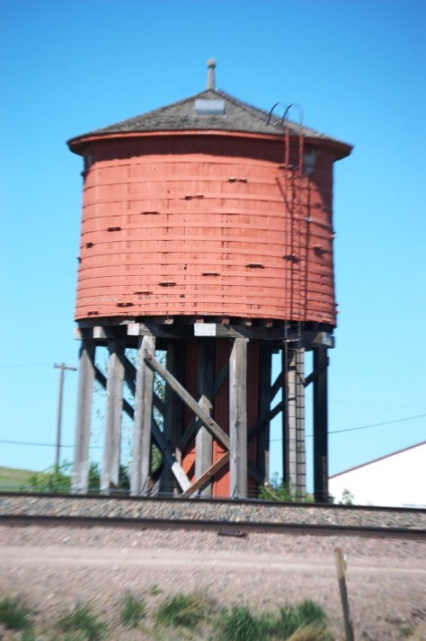 Old Red Wooden Water Tower