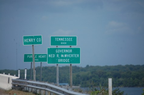 Lots of signs just before crossing the Tennessee River near Paris Landing State Park