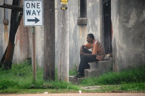 A man on porch in Port Gibson, MS