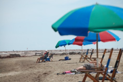 Umbrella Lined Beach...rent a seat