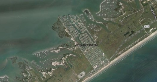 Satellite shot of Jamaica Beach from Google Maps