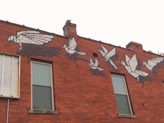 "Detail of ""Origami Tsunami"" by BroCoLoco in Lexington"