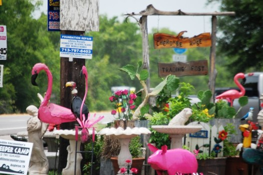 Pink Pigs and Pink Flamingos for sale at Cherokee Rose Trading Post