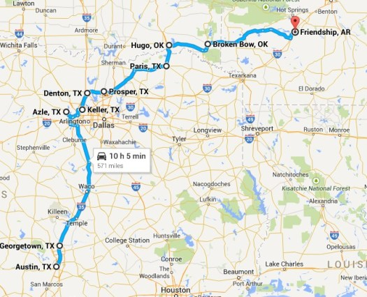 My route from Austin, TX (weird) to Friendship, AR.  Traveled in late June 2014