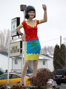 Uniroyal Gal dressed as a Waitress in Blackfoot, ID