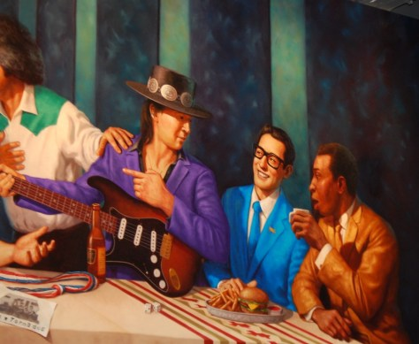 A portion of the Great Texas Supper mural