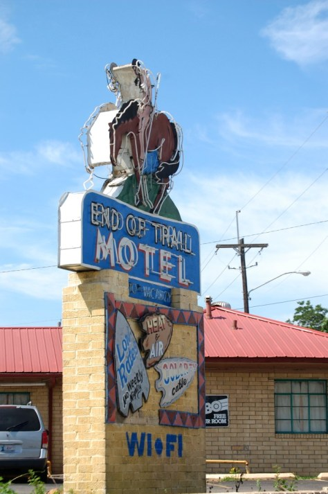 End of Trail Motel Neon sign in Broken Bow, OK