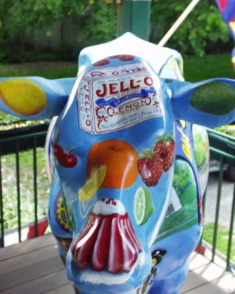 Head shot of JELLO Cow in Leroy, NY