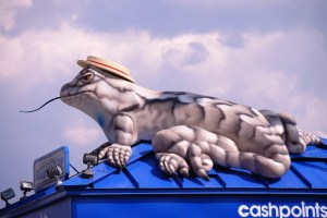 Lizard Lick lizard on top of gas station