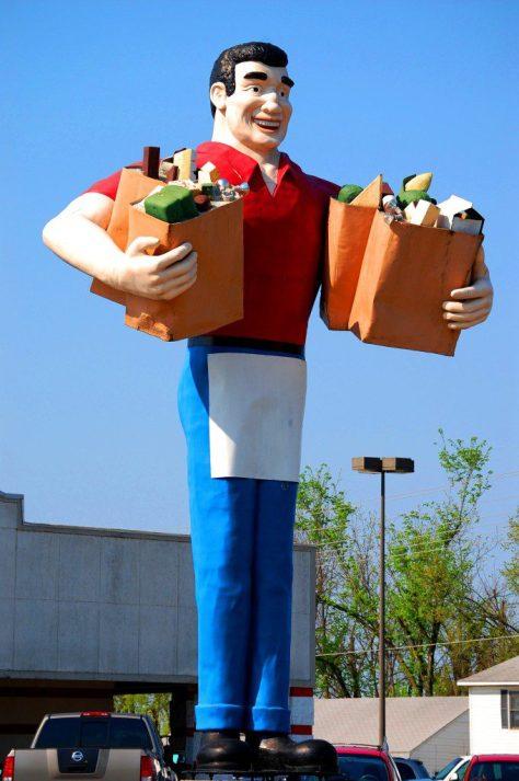 Big John with Grocery Bags in Metropolis, IL