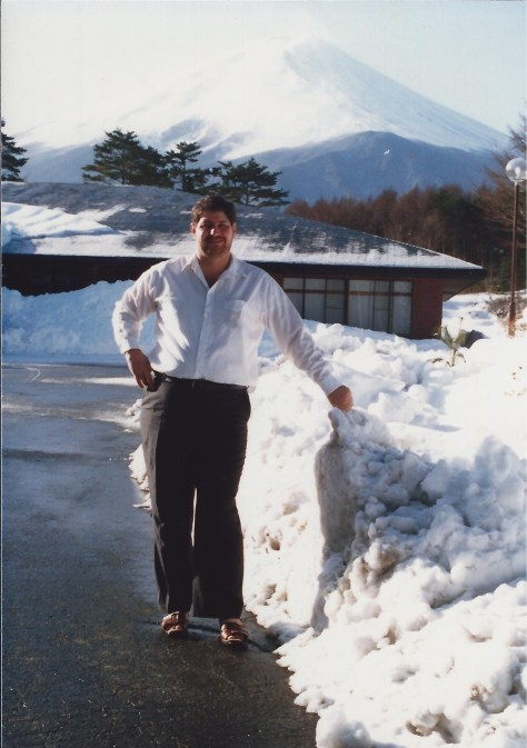Enjoying wintertime at a resort at the base of Mt. Fuji, near Fujinomiya, Japan in 1987