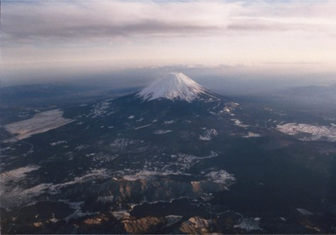 Mt. Fuji, Japan as seen from my airplane seat in 1990 as I flew to Tokyo from Oita.