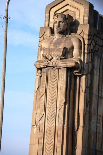 Giant Statues on Bridge in Cleveland