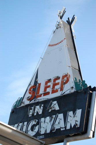Sleep in a Wigwam neon sign
