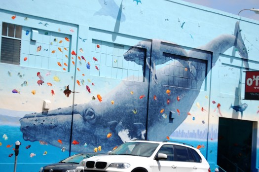 Giant whale mural on a building