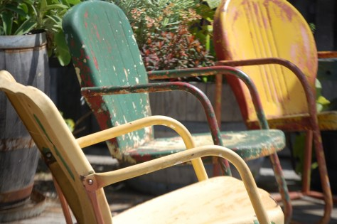 Rustic old motel chairs...reminds me of the 1960s..Upper Lake, CA