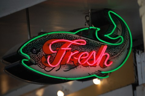 Fresh Fish Neon at Pike Place Market