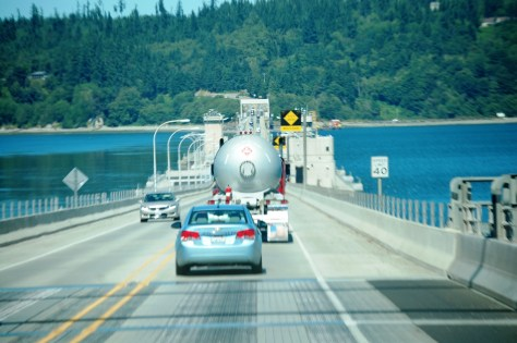 Crossing the Hood Canal Bridge in NW Washington