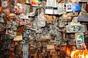 Dollar Bills plaster every inch of the walls and ceiling of Fat Smitty's