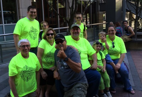 All of us waiting for to Ride the Duck. This guy loved our shirts and wanted a photo with us...yes, we were photobombed in Seattle!