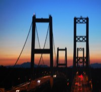 Sunset over Tacoma Narrows bridge