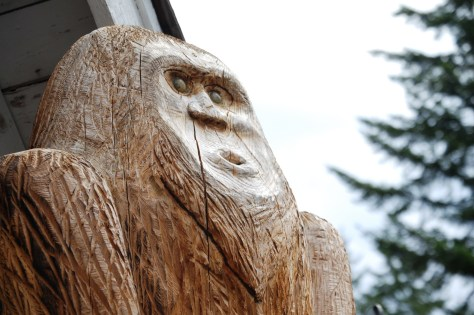 10 foot tall Sasquatch carving at Naches Tavern in Greenwater, WA
