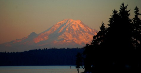 View of Mt. Rainier from the ferry near Port Orchard, WA