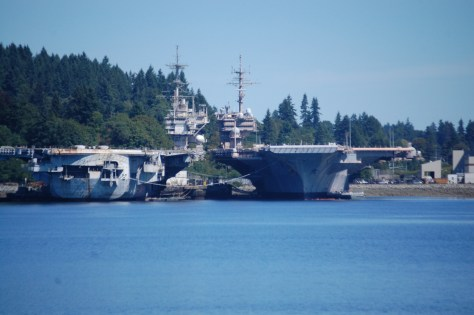 A scene of Puget Sound Naval Shipyard from the Port Orchard Ferry area
